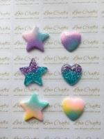 Pastel/Glitter Star or Heart Resin