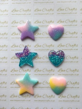 Pastel/Glitter Star or Heart Resin