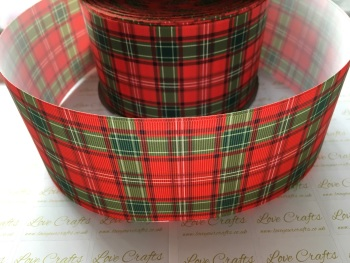 Red & Green Tartan Grosgrain Ribbon