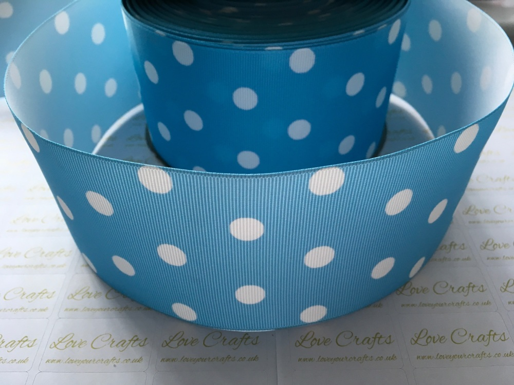 White Polka Dot on Blue Mist Grosgrain Ribbon