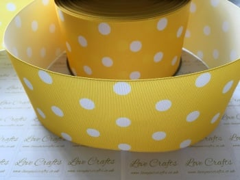 White Polka Dot on Daffodil Grosgrain Ribbon