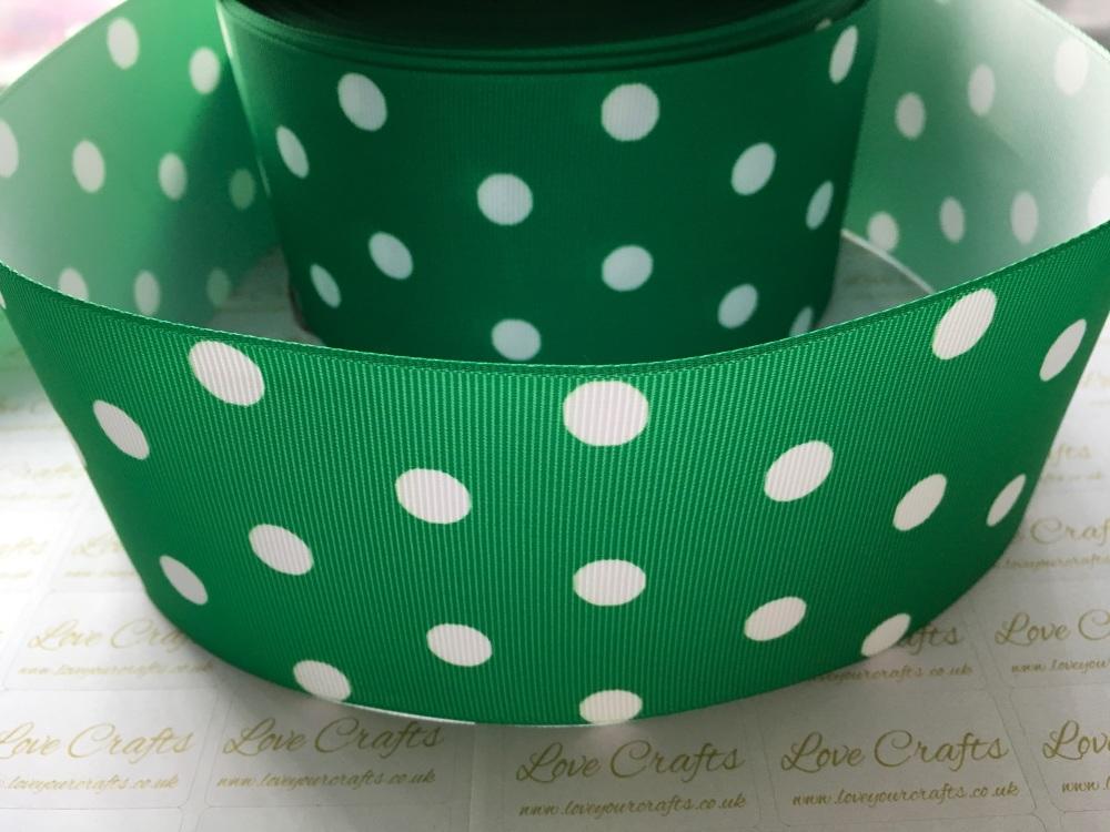 White Polka Dot on Fern Green Grosgrain Ribbon