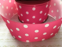 White Polka Dot on Hot Pink Grosgrain Ribbon