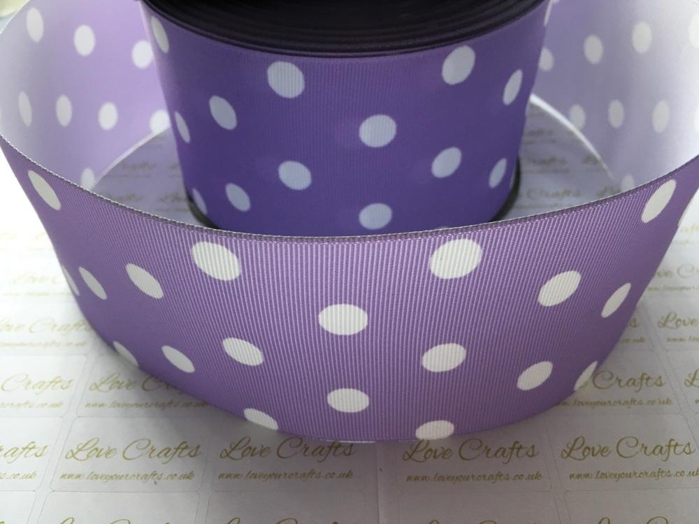 White Polka Dot on Light Orchid Grosgrain Ribbon