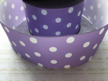 White Polka Dot on Light Orchid Grosgrain Ribbon