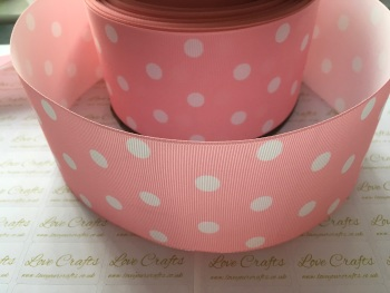 White Polka Dot on Pearl Pink Grosgrain Ribbon