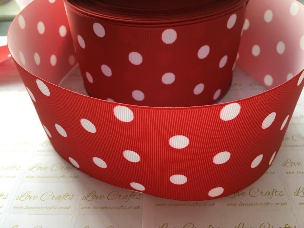 White Polka Dot on Red Grosgrain Ribbon