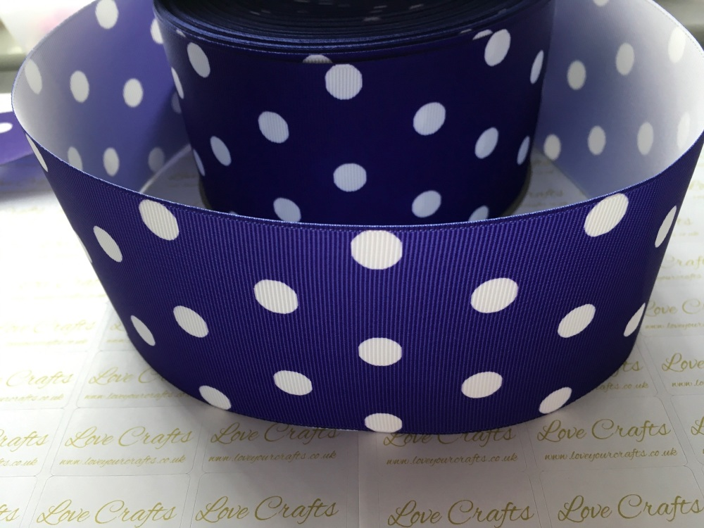 White Polka Dot on Regal Purple Grosgrain Ribbon