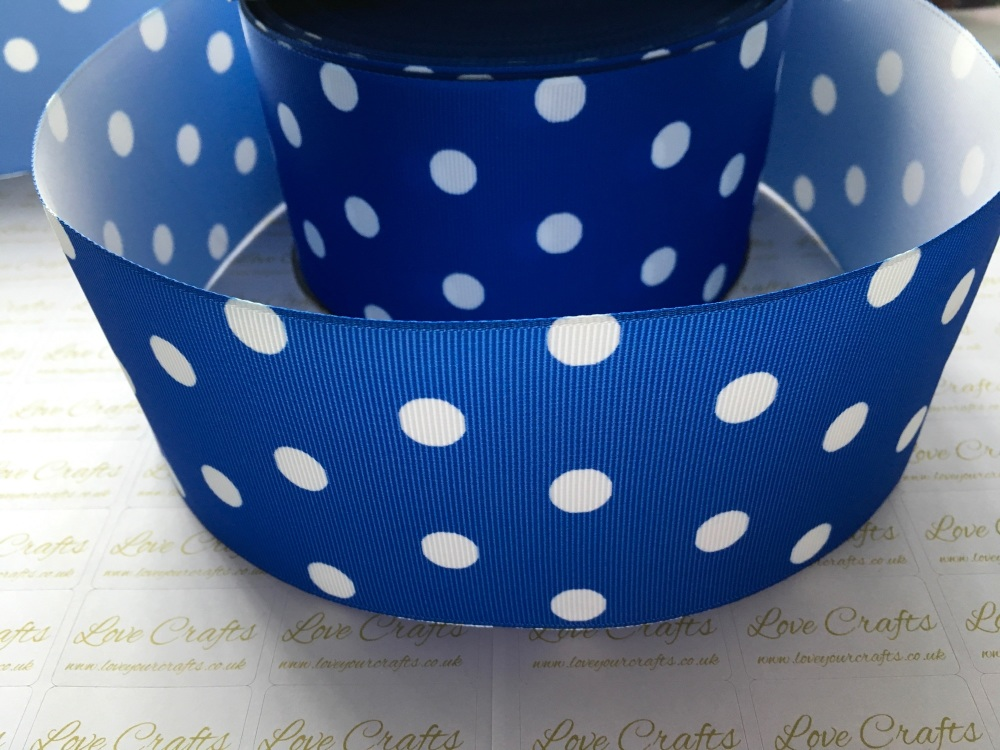 White Polka Dot on Royal Grosgrain Ribbon