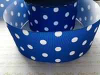White Polka Dot on Royal Grosgrain Ribbon