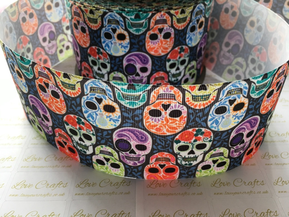Colourful Skull Grosgrain Ribbon