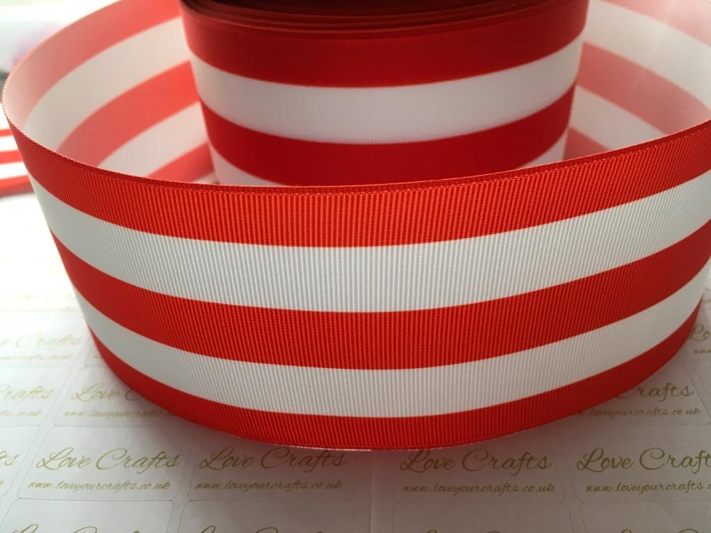 Red & White Stripe Grosgrain Ribbon