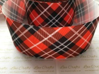 Red Tartan Grosgrain Ribbon
