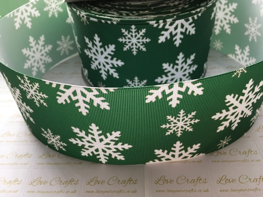 Snowflake on Green Grosgrain Ribbon