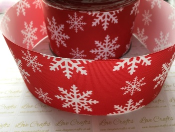 Snowflake on Red Grosgrain Ribbon