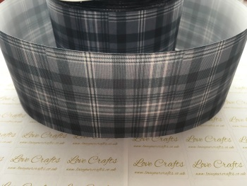 Grey Tartan Grosgrain Ribbon