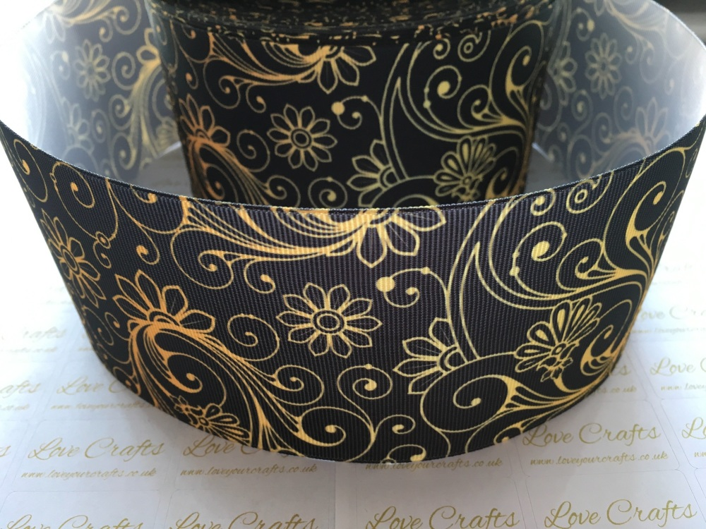 Gold Floral on Black Grosgrain Ribbon