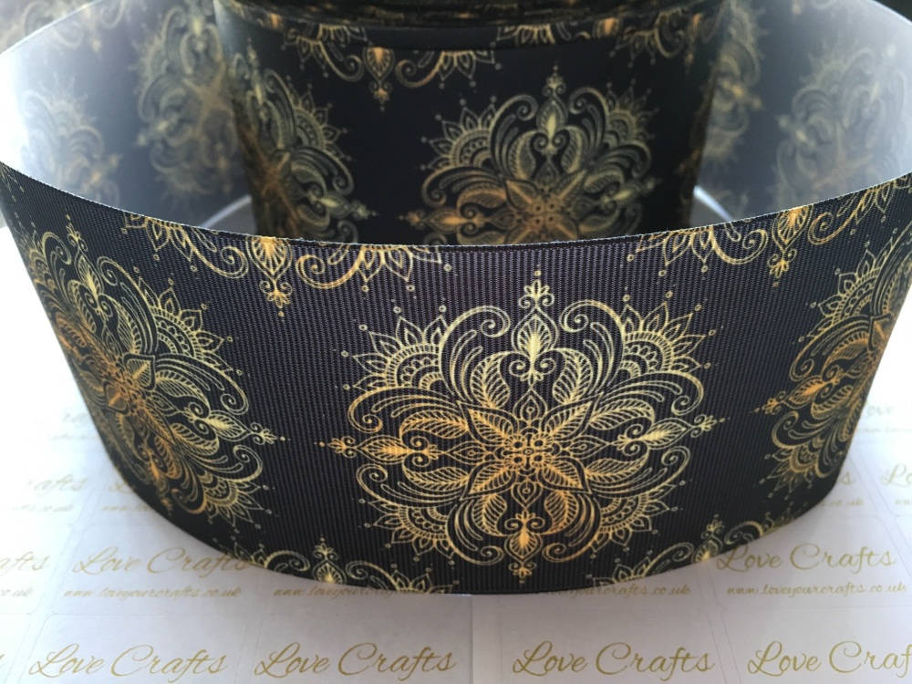 Gold Pattern on Black Grosgrain Ribbon