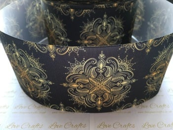 Gold Pattern on Black Grosgrain Ribbon