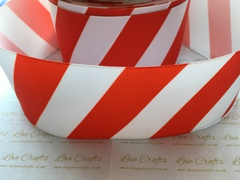 Red & White Diagonal Stripe Grosgrain Ribbon