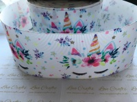 Sleepy Unicorn Floral Grosgrain Ribbon