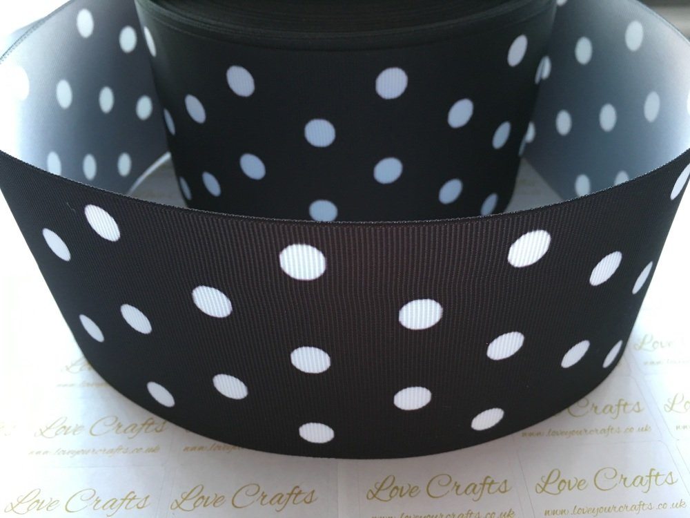White Polka Dot on Black Grosgrain Ribbon