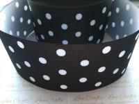White Polka Dot on Black Grosgrain Ribbon