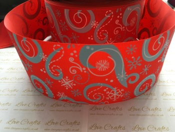 "3"" Red & Light Blue Glitter Snowflake Swirls Grosgrain Ribbon"