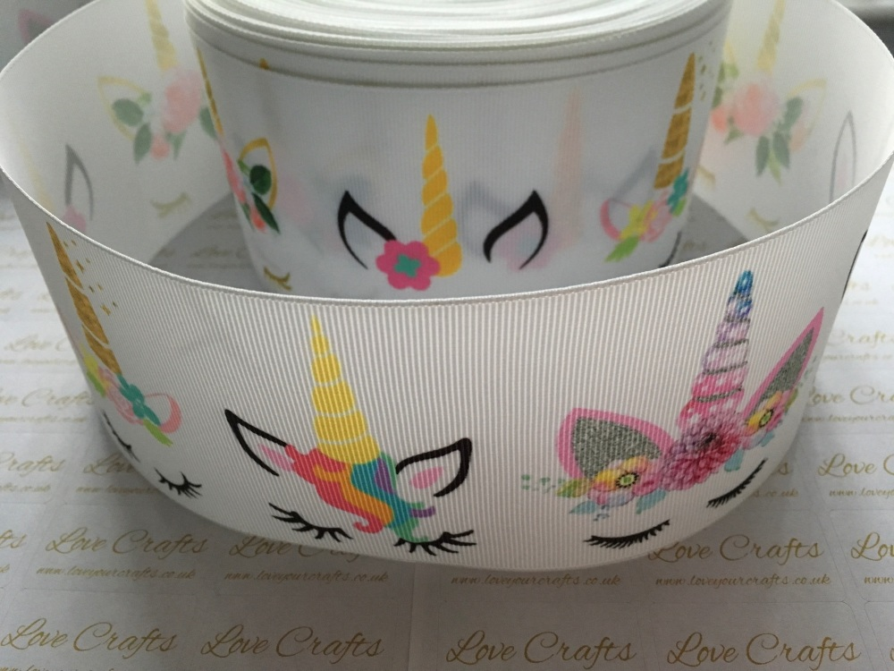 Sleepy Unicorn Grosgrain Ribbon