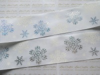 "3"" White & Silver Snowflakes on White Grosgrain Ribbon"