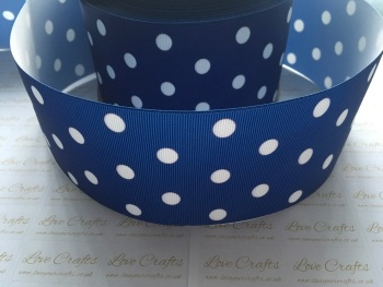 White Polka Dot on Cobalt Grosgrain Ribbon