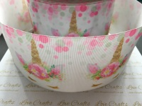 Pastel Sleepy Unicorn Grosgrain Ribbon