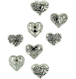 Dress It Up Buttons: Assorted Silver Hearts