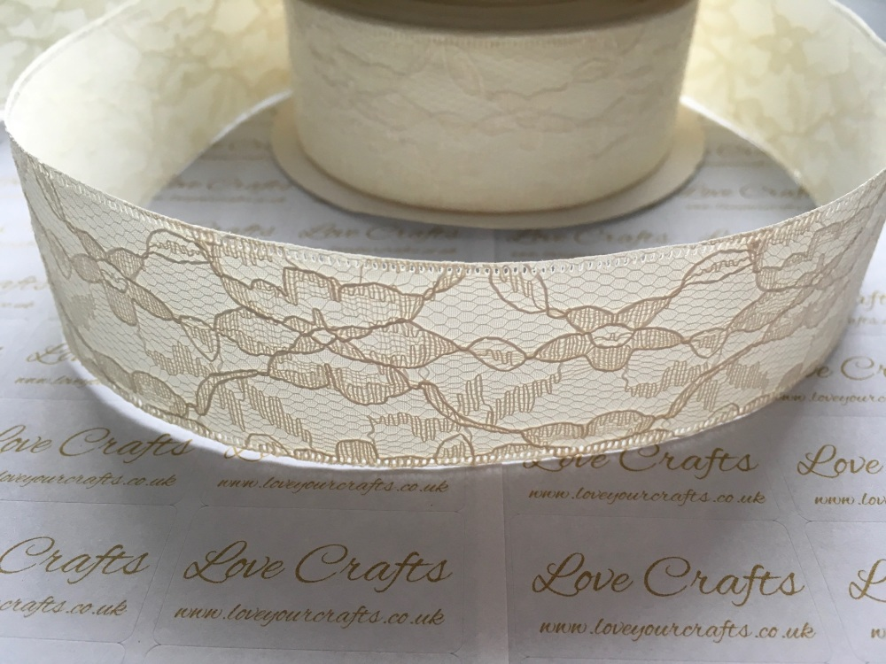 40mm Ivory Lace with Ribbon Back