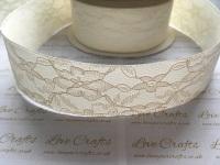 40mm Ivory Ribbon Backed Lace