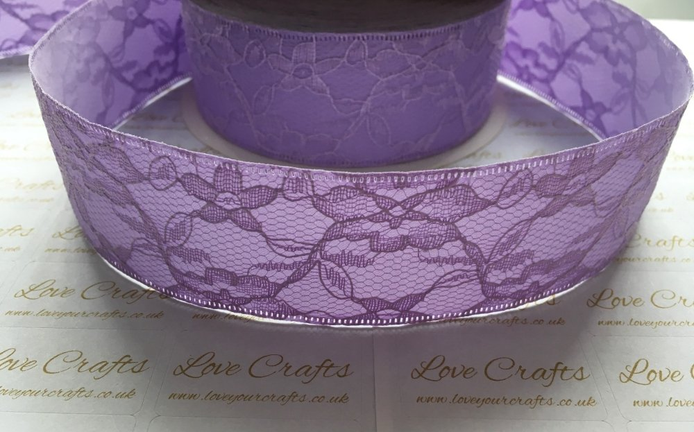 40mm Lilac Lace with Ribbon Back