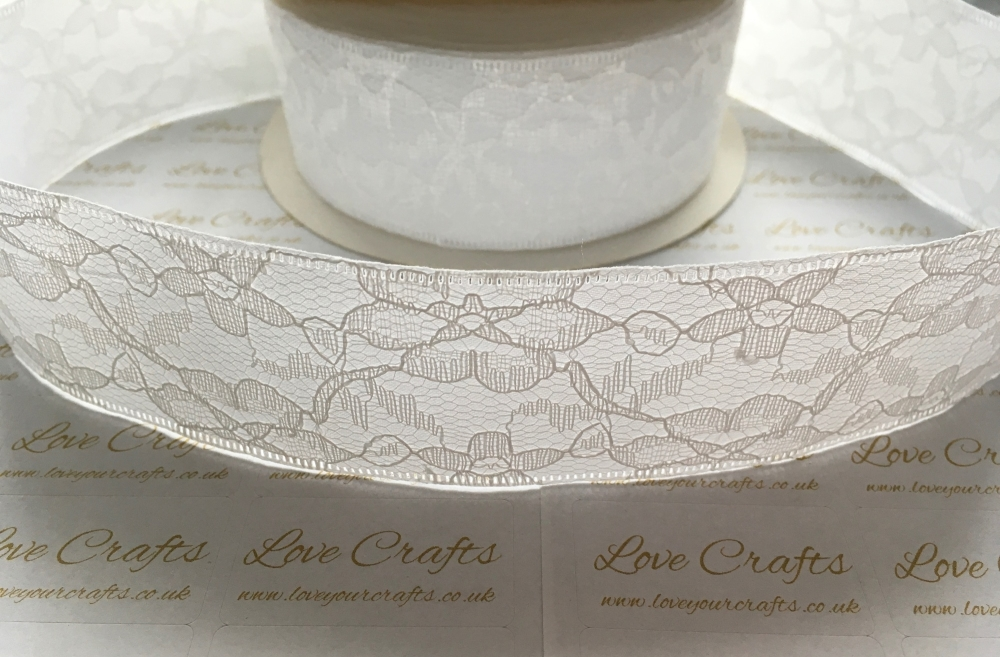 40mm White Lace with Ribbon Back