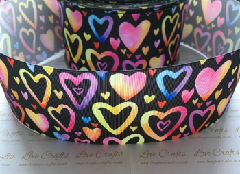 Colourful Hearts on Black Grosgrain Ribbon