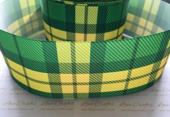 Green Tartan Grosgrain Ribbon