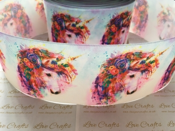 Floral Unicorn Grosgrain Ribbon
