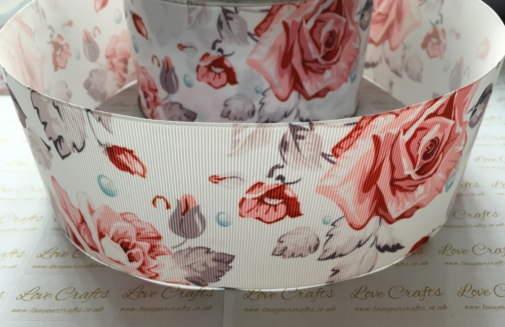 Pink/Grey Floral Grosgrain Ribbon
