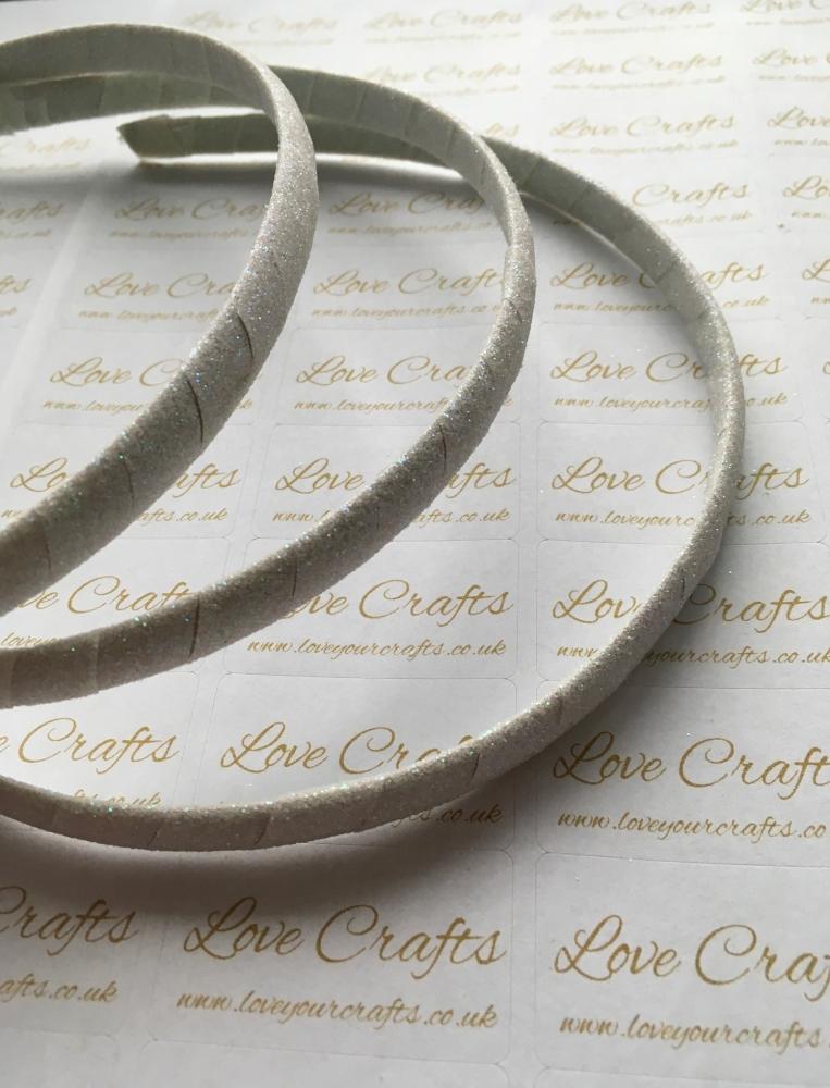 White Glitter Ribbon Covered Headband