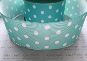 White Polka Dot on Aqua Grosgrain Ribbon
