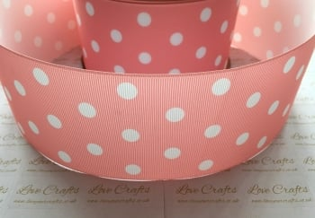 White Polka Dot on Light Coral Grosgrain Ribbon