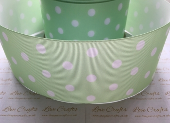 White Polka Dot on Light Green Grosgrain Ribbon