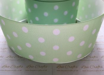 White Polka Dot on Light Green Grosgrain Ribbon