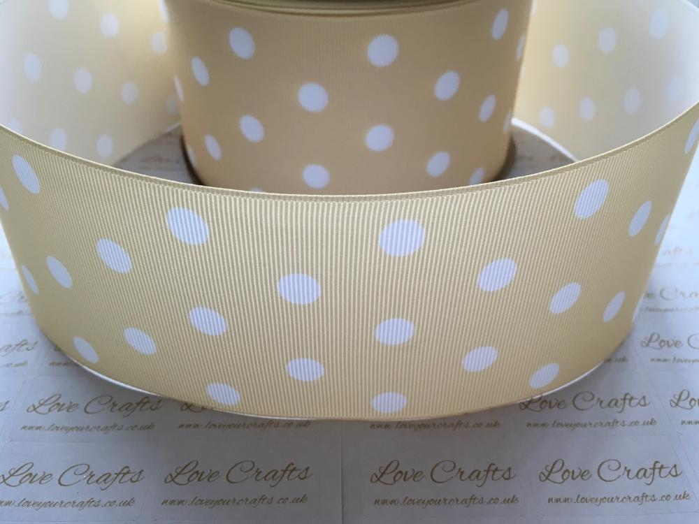 White Polka Dot on Pale Yellow Grosgrain Ribbon