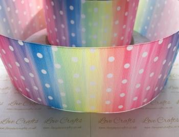 White Polka Dot on Rainbow Ombre Grosgrain Ribbon