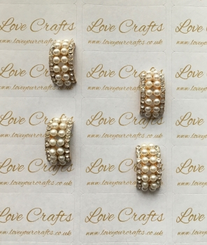 Pearl Rhinestone Curved Bling Centre