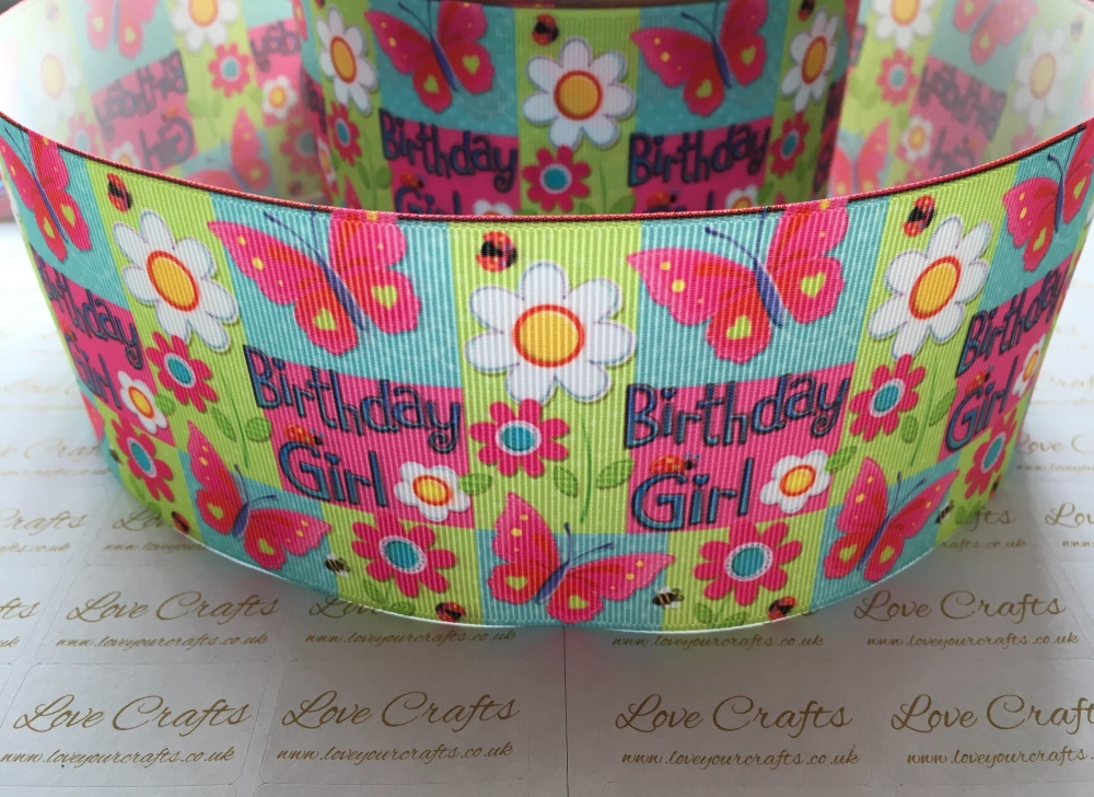 Birthday Girl Butterfly Grosgrain Ribbon
